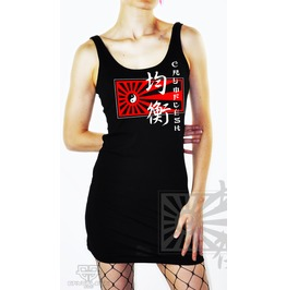 Cryoflesh Balance Japanese Sunrise Ying & Yang Cybergoth Gothic Tank Dress
