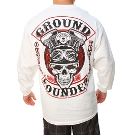 Ground Pounder White Long Sleeve Mens Tee