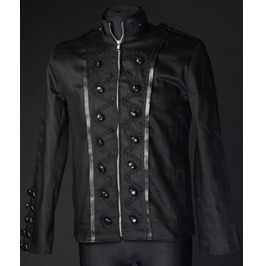 Black Military Jacket With Double Buttons And Piping $9 Worldwide Shipping