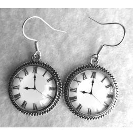 Clocks Earrings Victorian, Steampunk, Tea Party, Alice In Wonderland