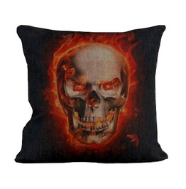 Cool! Skull Head With Flames Cushion Cover Design