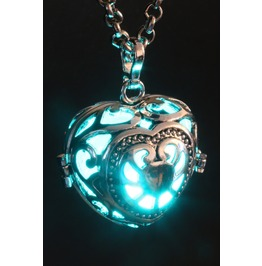 Fairy Punk Necklace Heart Locket With Teal Glowing Orb