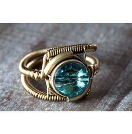 Steampunk Jewelry Ring Erinite Green Swarovski Crystal