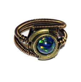 Steampunk Jewelry Ring Black Lab Created Opal