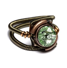 Steampunk Ring Chrysolite Green Swarovski Crystal Bronze And Copper