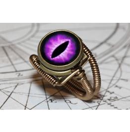 Steampunk Jewelry Eyeball Ring Purple Dragon Eye Steampunk Ring