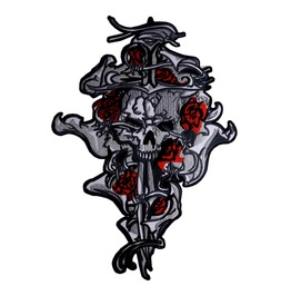 Skull Sword And Roses Kingsize Big Back Patch Iron On Sew On Biker Rocker
