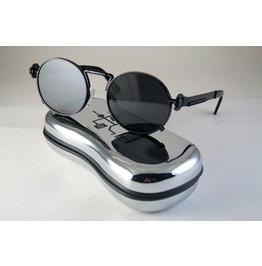 Black Metal Round Sunglasses With Black Lenses