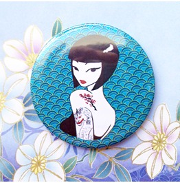 Japanese Blue Handbag Mirror With Pouch, Original Illustration By Poison B.