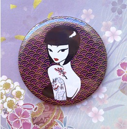 Japanese Violet Handbag Mirror With Pouch, Illustration By Poison B.