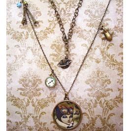 Steampunk Necklace, Aviator, Industrial, Kitten, Original Illustration