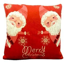 Christmas Santa Merry Christmas Design Print Linen Cushion Cover
