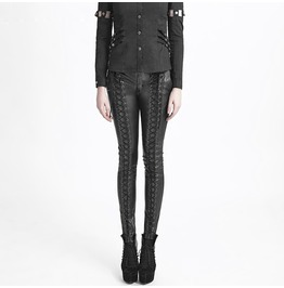 Punk Rave Gothic Faux Leather Lace Up Leggings K 229