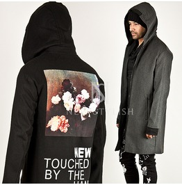 Lettering & Flower Printed Back Accent Zip Up Hood Coat 78