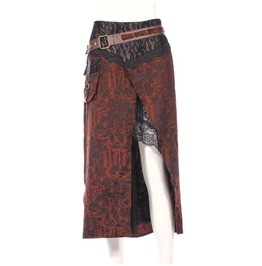 Steampunk Lace Jacquard Oblique Split Skirt With Buckles Belt B149