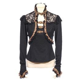 Gothic Lace Floral Ruffle Women Shirt Black B156