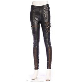 Rq Bl Steampunk Faux Leather Buckles Women Pants Sp158