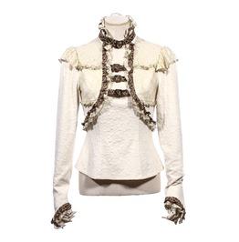 Gothic Lace Floral Ruffle Women Shirt White B156