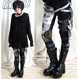 Ultra long zombie gauze punk gothic punk distressed tie dye legging black leggings