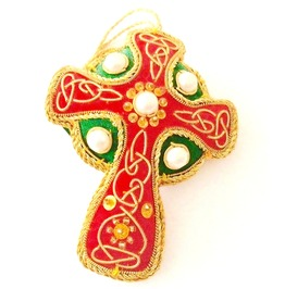 Unique Small Home Decoration Hand Crafted Celtic Cross Pearl Design