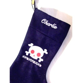 Monogrammed Handmade Navy Blue Goth Skull Christmas Stocking Personalized