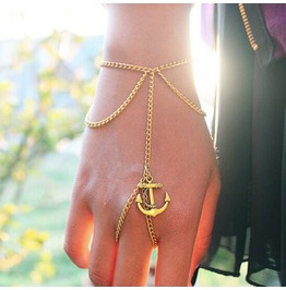 Ms. Simple Ancient Anchor Chain Tassel Bracelet Jewelry Mittens