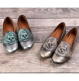 Autumn Paragraph Retro Skull Original Handmade Leather Shoes Single Shoes D