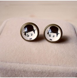 Fashion Vintage Artist Chaplin Stud Earrings
