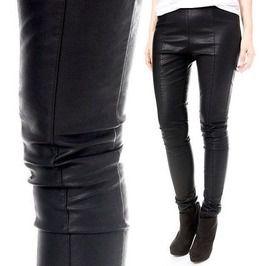 Windproof Thermal Punk Centerline Stretch Vegan Faux Leather Slim Legging