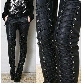 Chic Rock Runway Armor Corset Laceup Vegan Faux Leather Pleather Pants