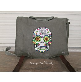 Sugar Skull Backpack, Day Of The Dead, Mexican Skull Calavera Canvas Bag