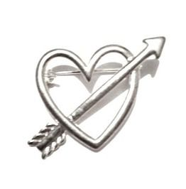 Valentine Love Silver Heart With Arrow Pin Brooch