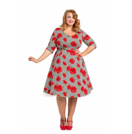 Voodoo Vixen Suzanne Plus Size Belted Poppy Print Skater Dress