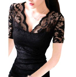 Beautiful Black Lacy Mini Dress Short Sleeves Size 10/12 Uk