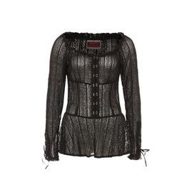 Jawbreaker Wuthering Black Gothic Corset Sleeve Peplum Blouse