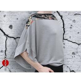 Off Shoulder Bat Sleeve Oversized Japanese Fans Gray