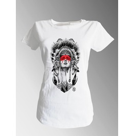 T Shirt Native American Indian Godess Feather Headdress Red Woman White Tee