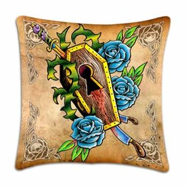 Toxico Coffin And Roses Tattoo Design Cushion