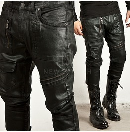 Multiple Accent Coated Black Slim Biker Jeans 174