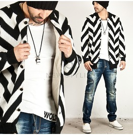 Cozy Fur Lining Zigzag Pattern Knit Jacket 168