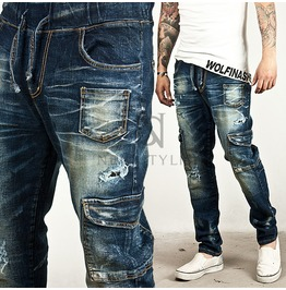 Comfy Drawcord Semi Baggy Cargo Denim Jeans 175