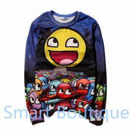 3 D Cartoon Emoji Print Women Men Sweatshirts Christmas Gift