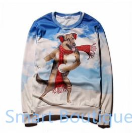 3 D Cartoon Dog Print Women Men Crew Neck Sweatshirts Christmas Gift