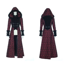 Unisex Gothic Hooded Floral Woolen Overcoat Red B21230