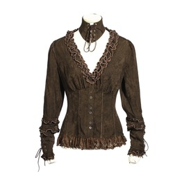 Gothic Floral Ruffles Women's Shirts Coffee With Lace Up Choker B148