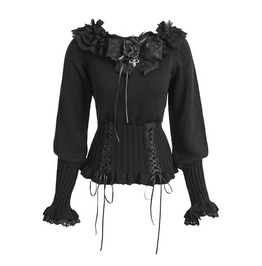 Lolita Lace Up Black Women Sweater With Detachable Flower Brooch Lm001