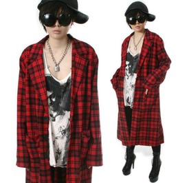 Punk Rock Unisex Flannel Check Plaid Tartan Slouchy Shirt