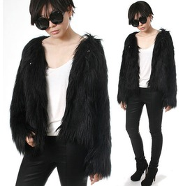 Punk Rock Star Shaggy Shearing Faux Fur Furry Gorilla Jacket Coat Celebrity