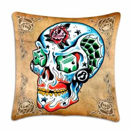 Toxico Tattoo Skull Casino Cushion