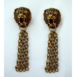 Game Of Thrones Inspired Cersei Lannister Lions Head Chain Earrings